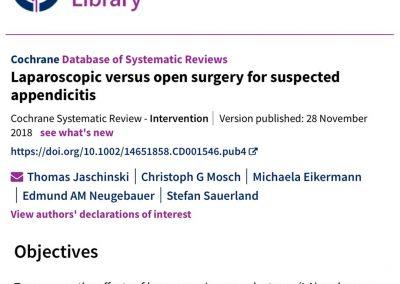 Evidence for laparoscopic appendicectomy - Surgical Education - Cochrane